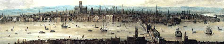 "Thomas Wyck, ""View of London from Southwark"". Farbiges Panorama von aus dem 17. Jahrhundert"